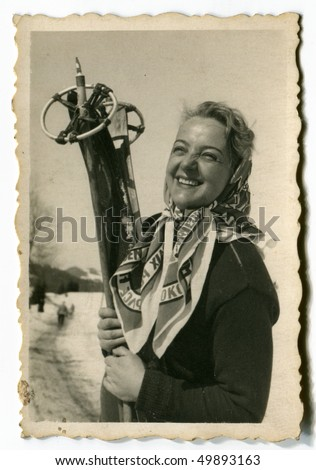 Vintage photo of young skier (1952)