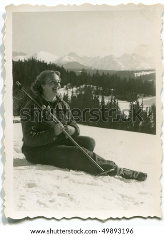Vintage photo of young skier (1952) - stock photo