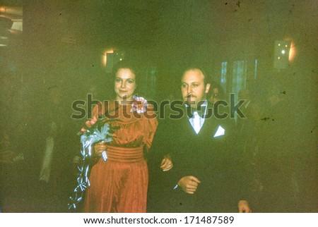 Vintage photo (scanned reversal film) of newlyweds, 1979 - stock photo