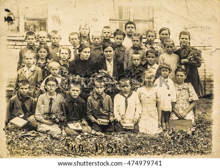 Vintage photo school children in the 20th century 1951. The USSR