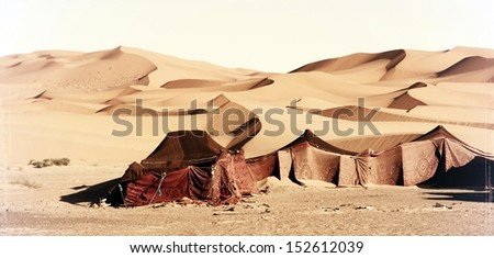 vintage photograph from berbertents at the desert - stock photo