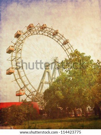 Vintage photograph of ferris wheel - stock photo