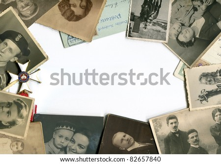 Vintage photos and postcards frame - stock photo