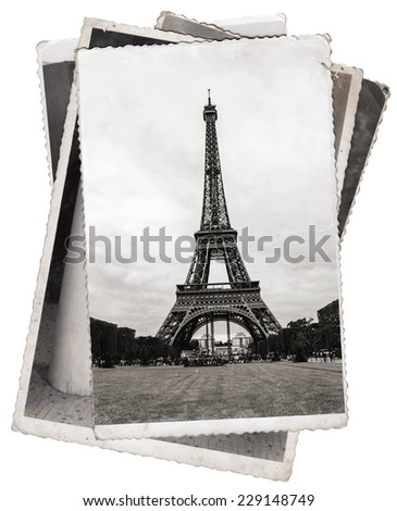 Vintage photos Eiffel Tower, famous symbol of Paris - stock photo