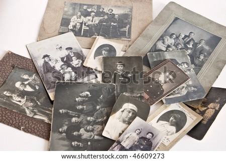 Vintage photos from family archive shot at the beginning of the XX century - stock photo