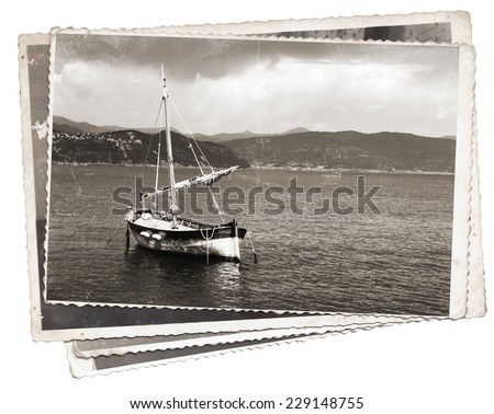 Vintage photos Old wooden sail ship, docked in the port of Portofino, Italy - stock photo