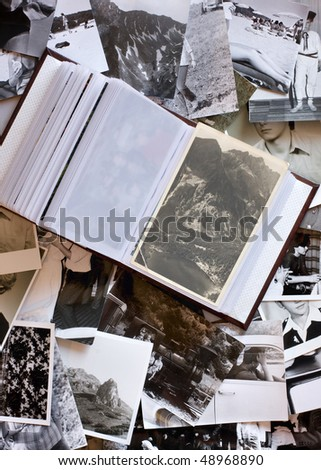 Vintage photos with Family Album. - stock photo