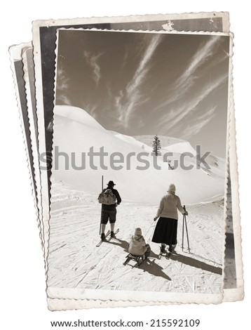 Vintage photos with Man and woman with old wooden skis and child on sled  - stock photo