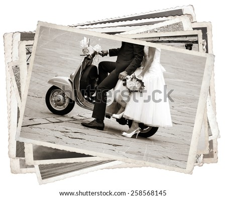 Vintage photos with Young newlywed just married, posing on an old gray scooter - stock photo