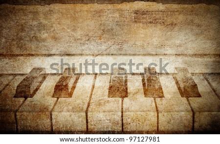 vintage piano background - stock photo