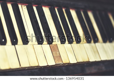 vintage piano keys close up - stock photo