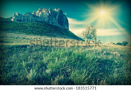 Vintage picture. Beautiful mountain landscape with high cliffs and lonely tree in a valley - stock photo