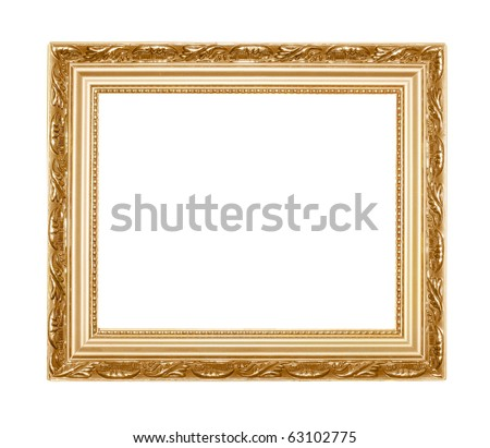 vintage picture frame isolated on white - stock photo
