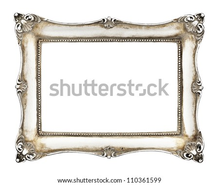 Vintage picture frame isolated on white background - stock photo
