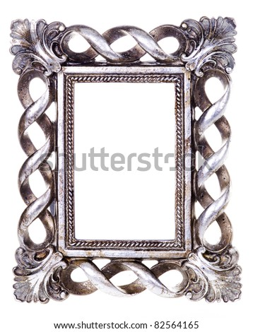 vintage picture frame on white background - stock photo