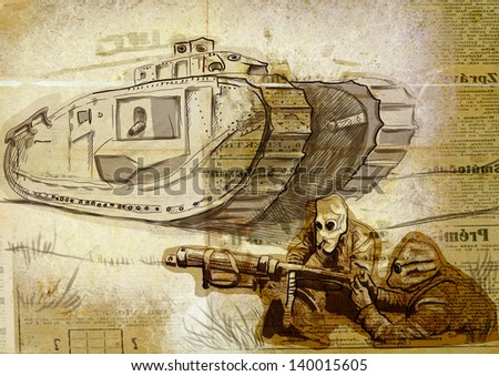 Vintage picture from the series: World between 1905-1949 /// Soldiers in the trenches in gas masks with heavy machine gun before a large tank /// Full sized hand drawing (old newspapers background) - stock photo