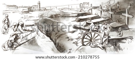 Vintage picture from the series: World between 1905-1949. The fighting in the trenches. An hand drawn and colored full sized illustration. - stock photo