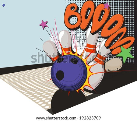Vintage picture made in comic style bowling ball and bowling pins - stock photo