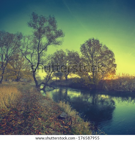 Vintage picture. Morning river with a trees reflected in river - stock photo