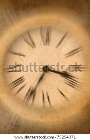 vintage picture of a clock with motion blur - stock photo