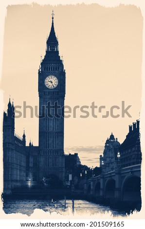 Vintage picture of Big Ben  - stock photo