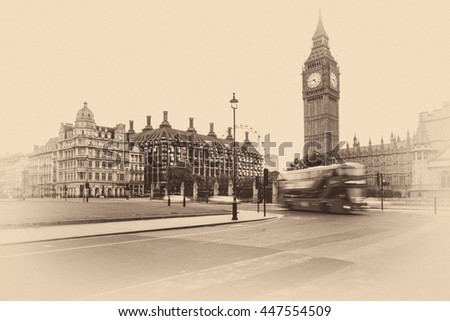 Vintage Picture Of Big Ben and london bus with grain on photo. - stock photo