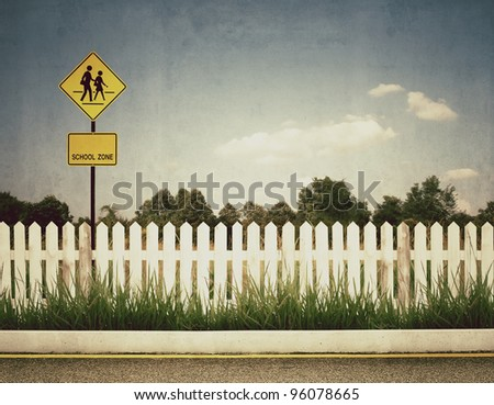 vintage picture of school zone sign - stock photo