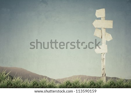 vintage picture of wooden signpost with grass and blue sky - stock photo