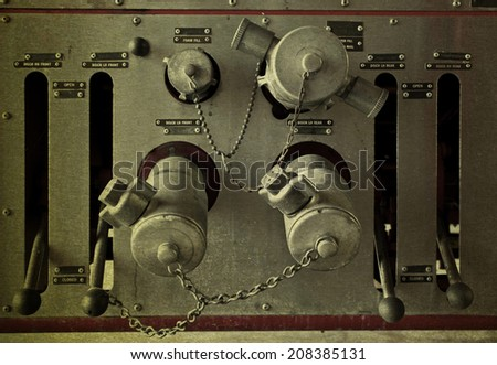 vintage picture valve main control Fire truck car firefighter rescue - stock photo