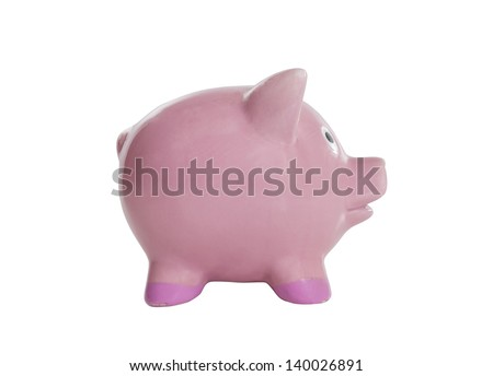 Vintage piggy bank isolated with clipping path.