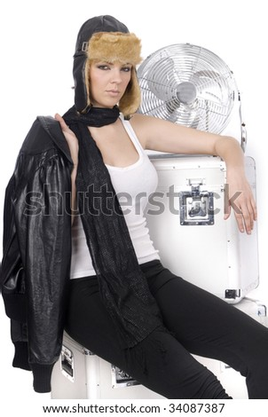 vintage pilot after a plane with box - stock photo