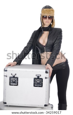 vintage pilot with box in white - stock photo