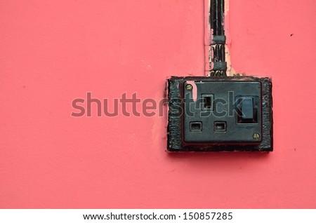Vintage 3 pin plug socket - stock photo