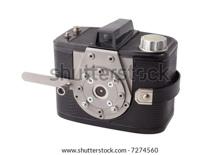 Vintage pinhole camera isolated on white