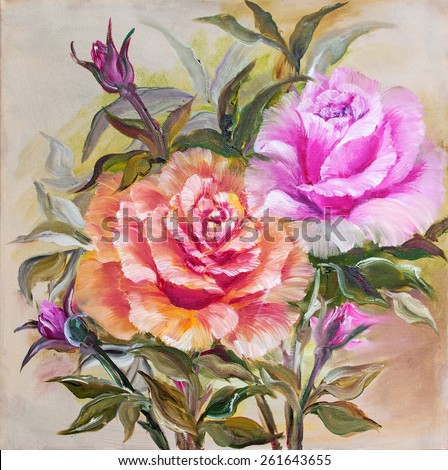 Vintage pink and yellow roses. Oil painting on canvas. - stock photo