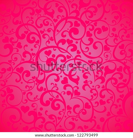Vintage pink background with hearts.  Illustration