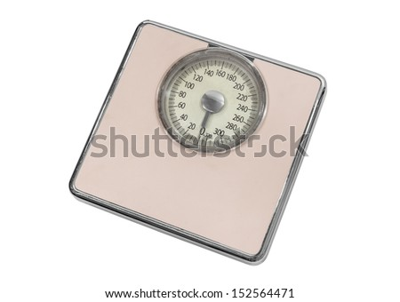 Vintage pink home weight scale isolated with clipping path.