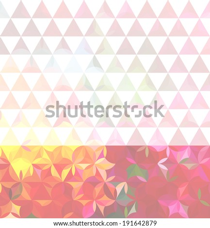 Vintage pink minimalistic background with geometric triangular ornament. Raster version - stock photo
