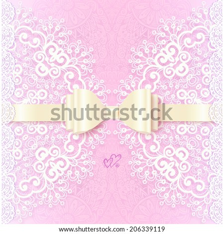 Vintage pink wedding card template with white bow
