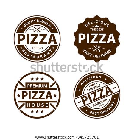 Vintage pizza logo, label, badge set 1 - stock photo