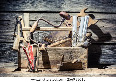 Vintage place of carpenters work - stock photo