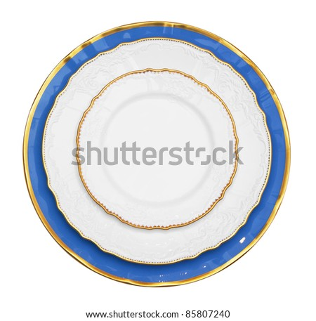 Vintage Plate isolated on white background - stock photo