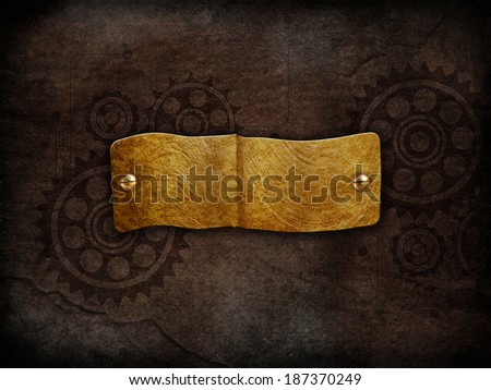Vintage plate with gears background - stock photo
