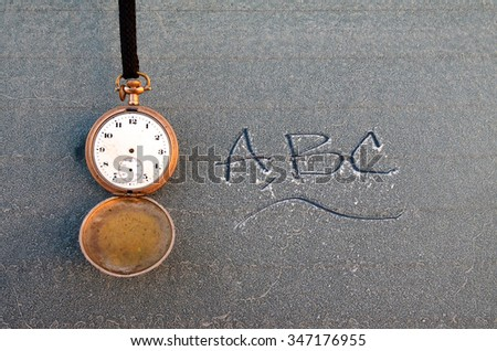 Vintage pocket clock. Wintertime - stock photo