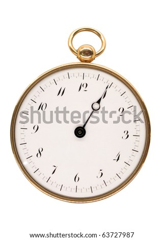 Vintage pocket watch, aged 1808, from Paris, isolated on white - stock photo