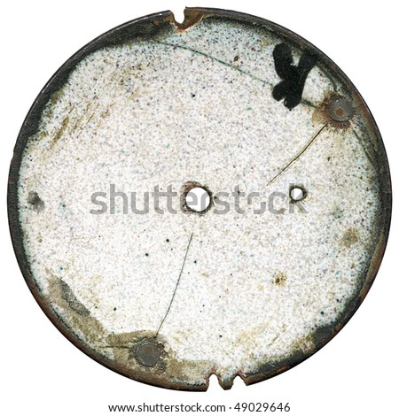 Vintage pocket watch dial - backside - isolated with clipping path - stock photo