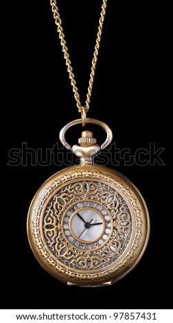 vintage pocket watch isolated on black background - stock photo