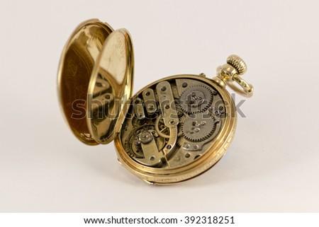 Vintage Pocket Watch 18K Gold  - stock photo