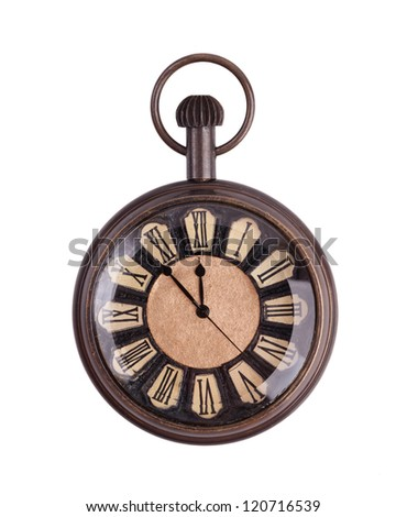 Vintage pocket watch on a white background