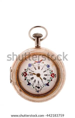 Vintage pocket watch on a white background. - stock photo